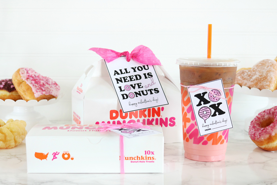 Dunkin Donuts Valentine's Day Printable Tags
