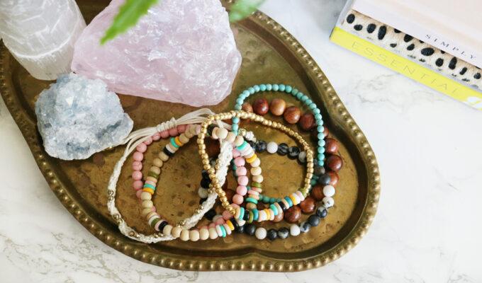DIY Boho Inspired Perler Bead Elastic Bracelets