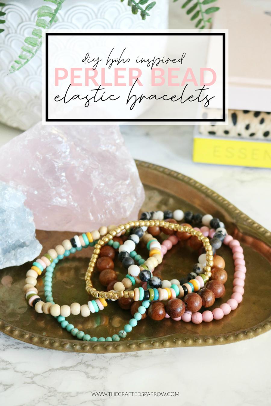 DIY Boho Perler Bead Elastic Bracelets