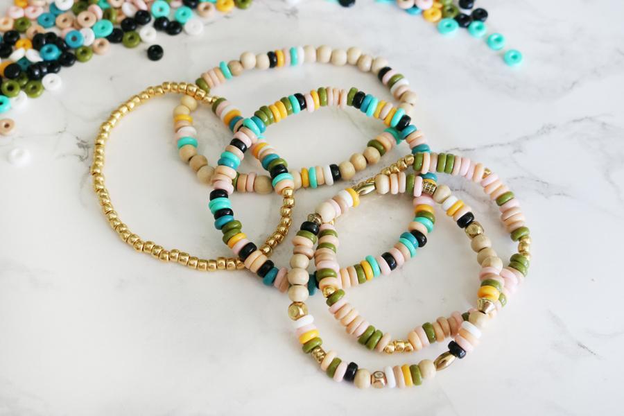 DIY Perler Bead Elastic Bracelets