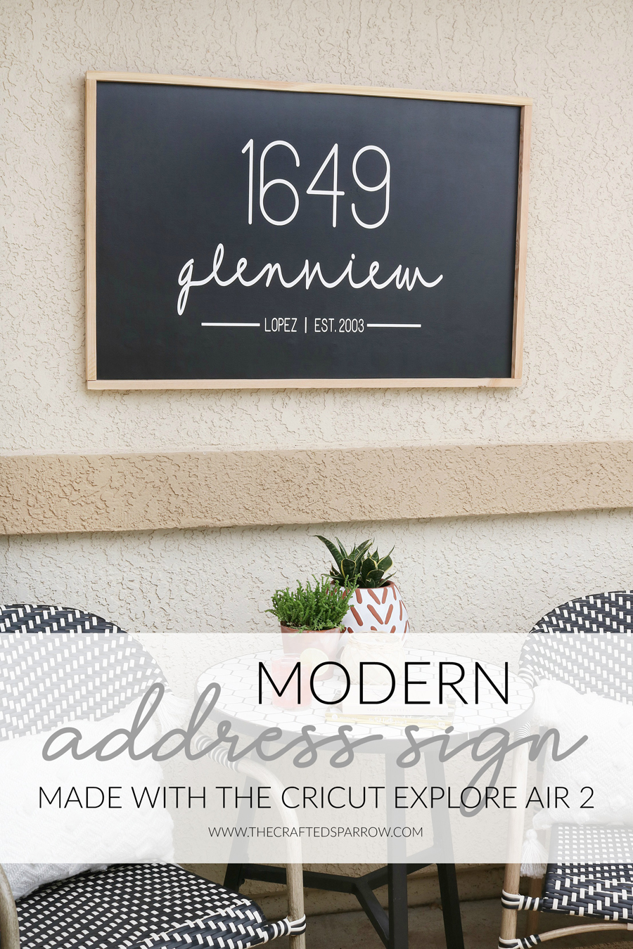 Modern Address Sign Made with The Cricut Explore Air 2