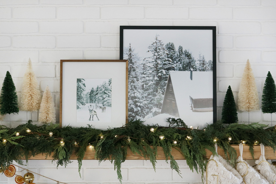 Frame Winter Prints for a Modern and Cozy Christmas Mantel