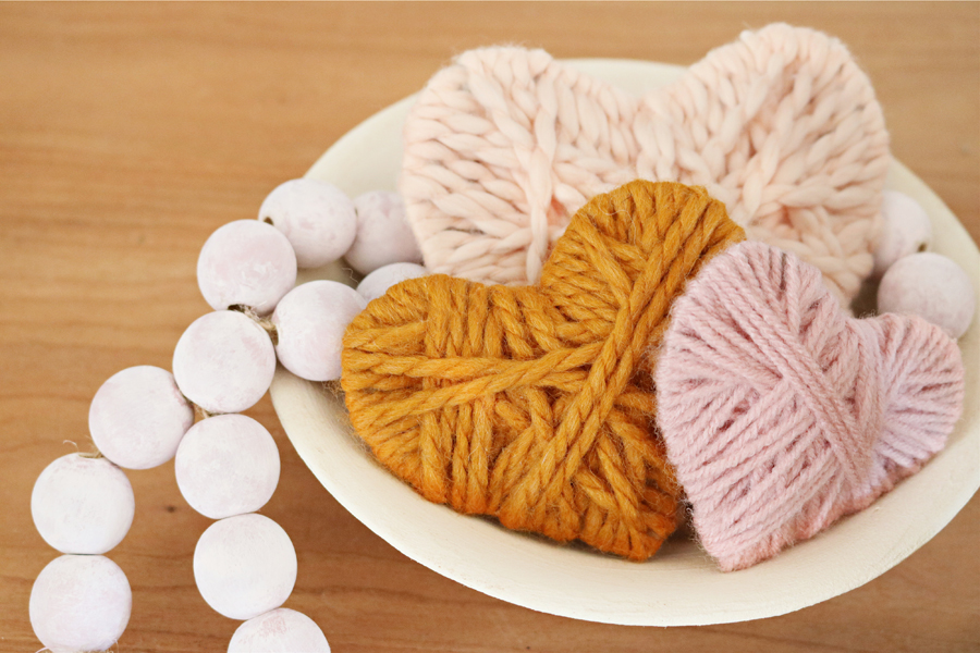 Valentine's Day Yarn Wrapped Hearts